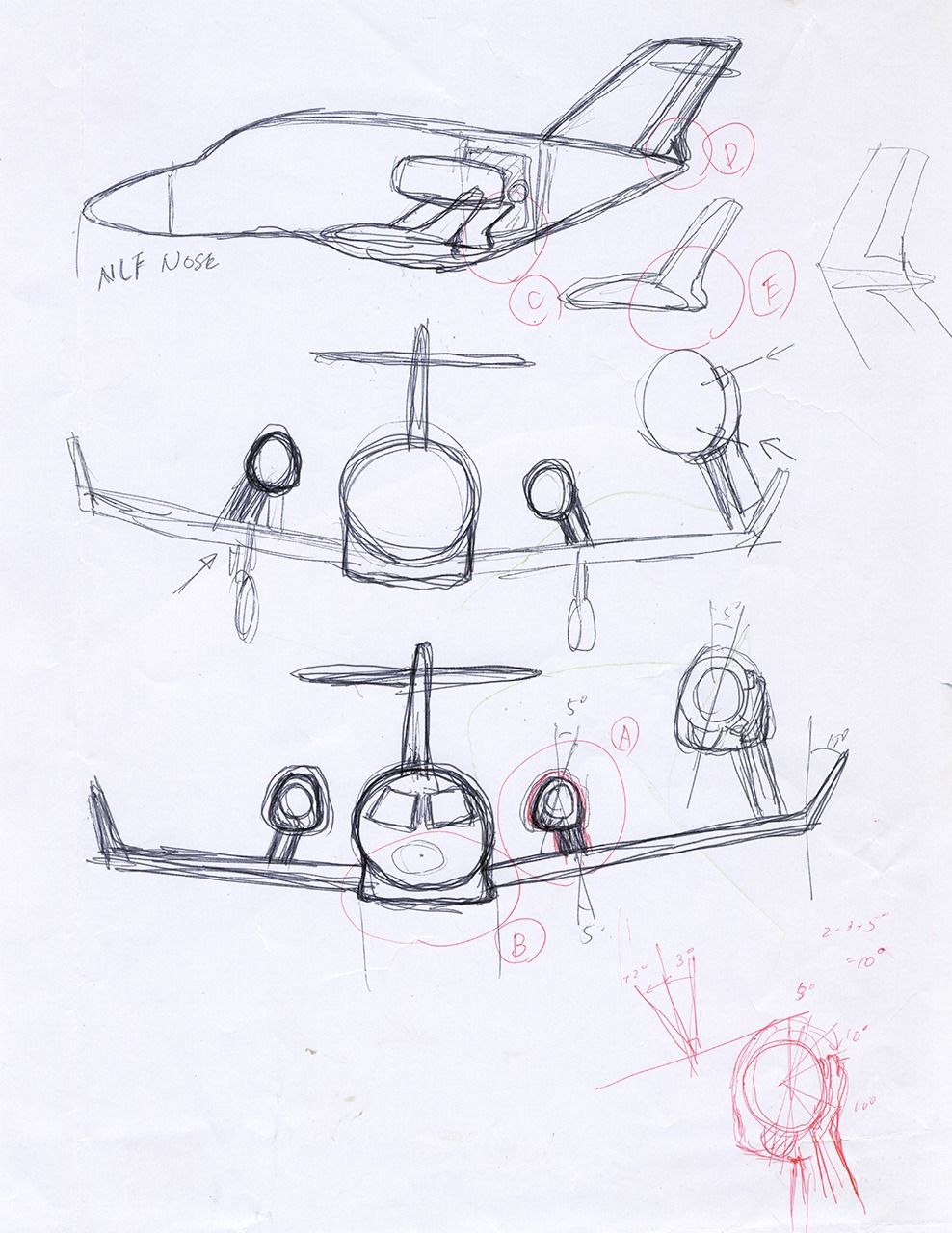 Fujino sketched his idea for the over-the-wing engine mount configuration on the back of a calendar. (Courtesy of Honda Aircraft Company)