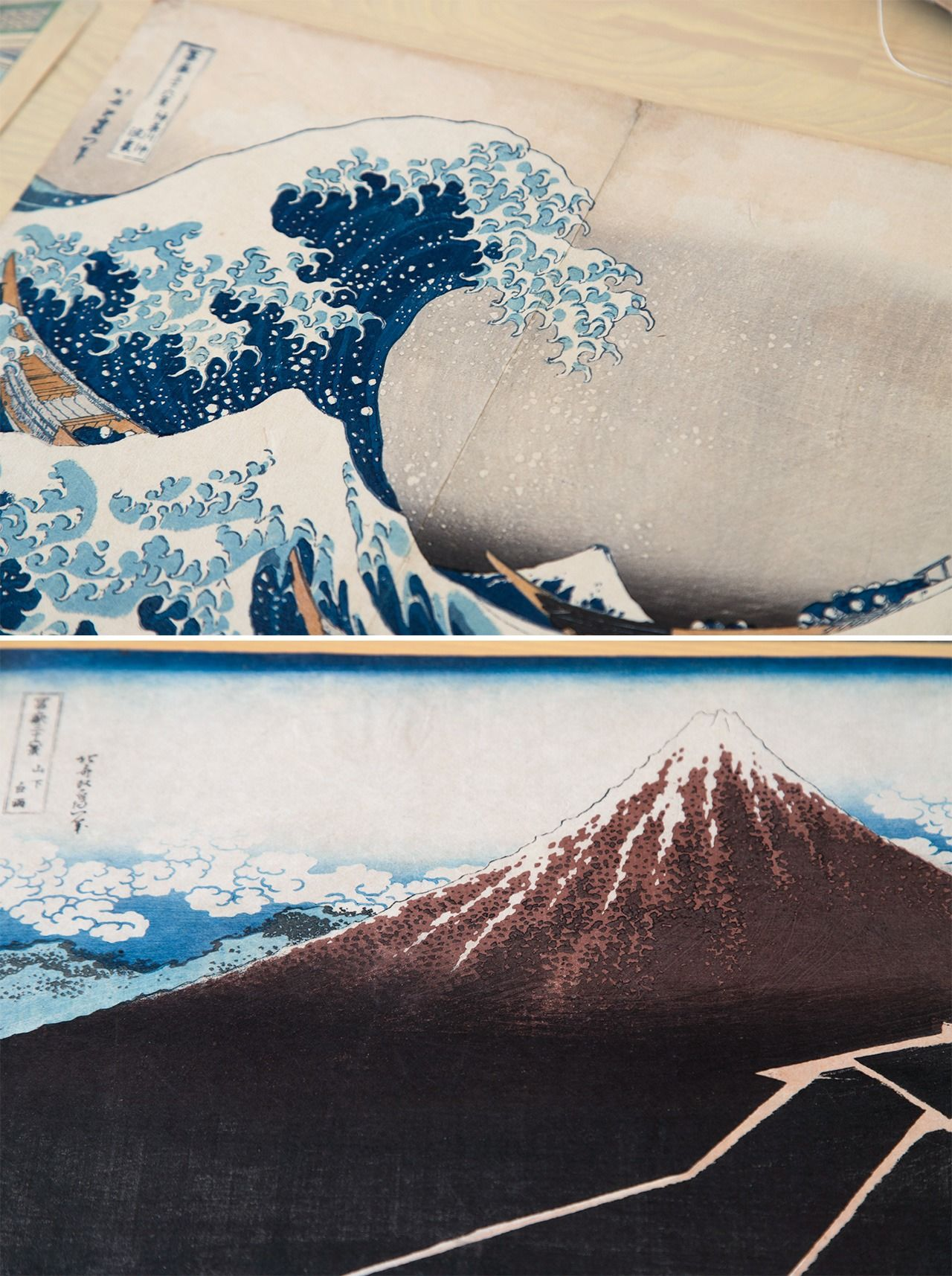 The Great Wave off Kanagawa (above) and Shower Below the Summit from Katsushika Hokusai's Thirty-Six Views of Mount Fuji, both in the private collection of Uragami Mitsuru.