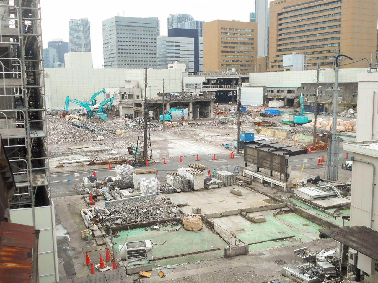 Demolition work at the site of the Tsukiji market in March 2019.