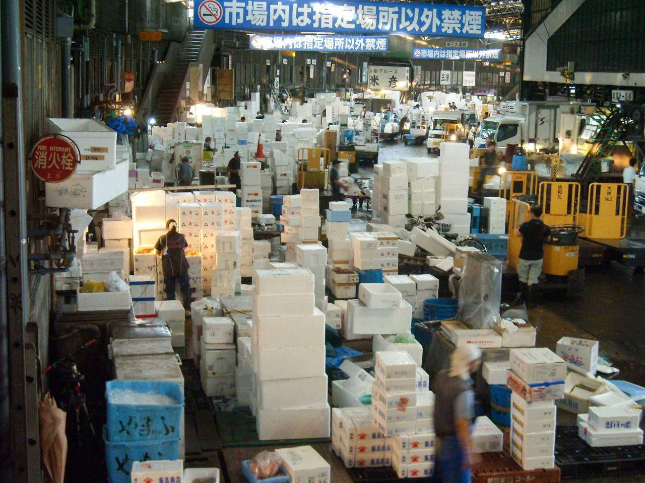 Lively trading in the early morning hours at the former Tsukiji market.