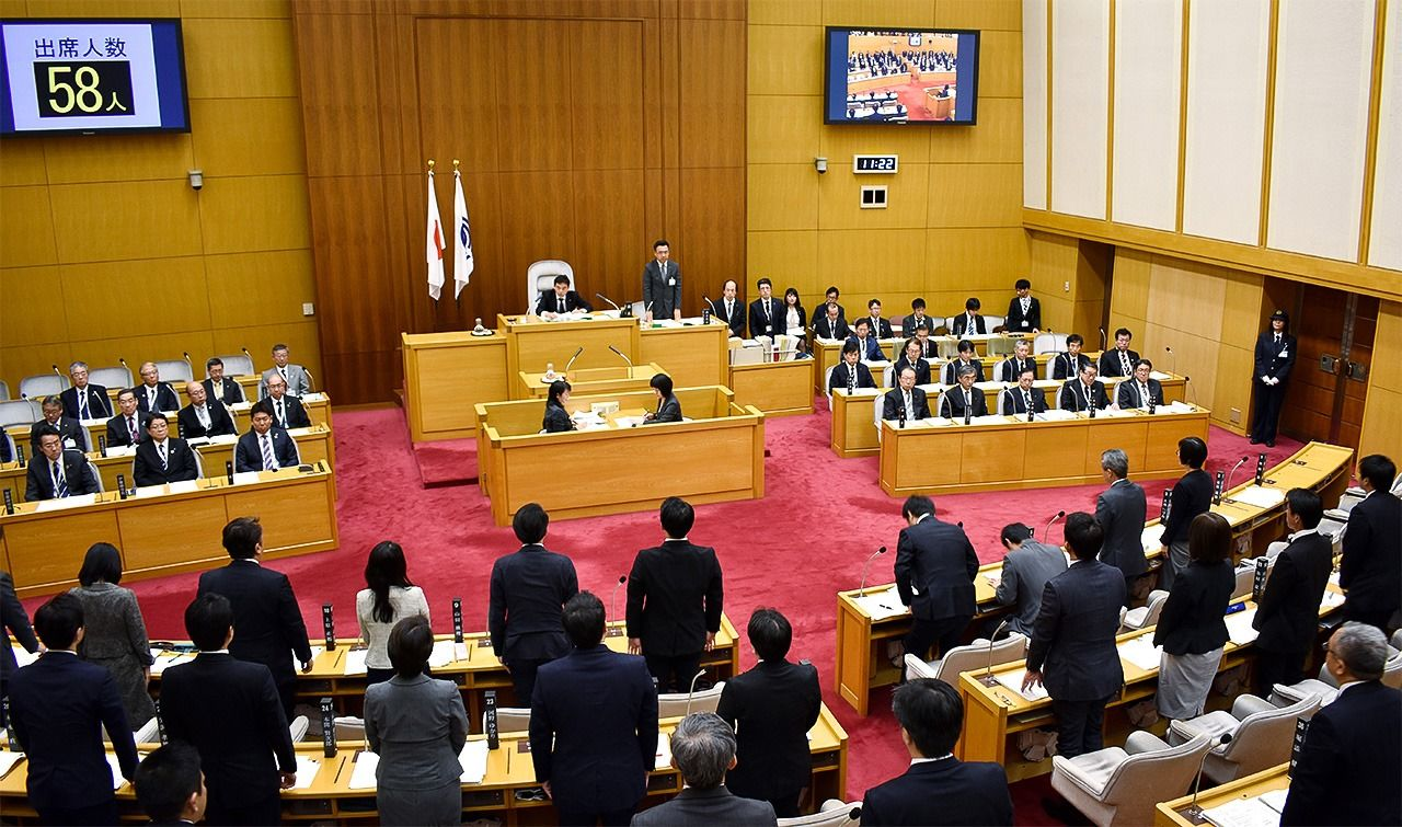 The Kawasaki City Assembly enacted an ordinance prohibiting hate speech in December 2019. (© Jiji)