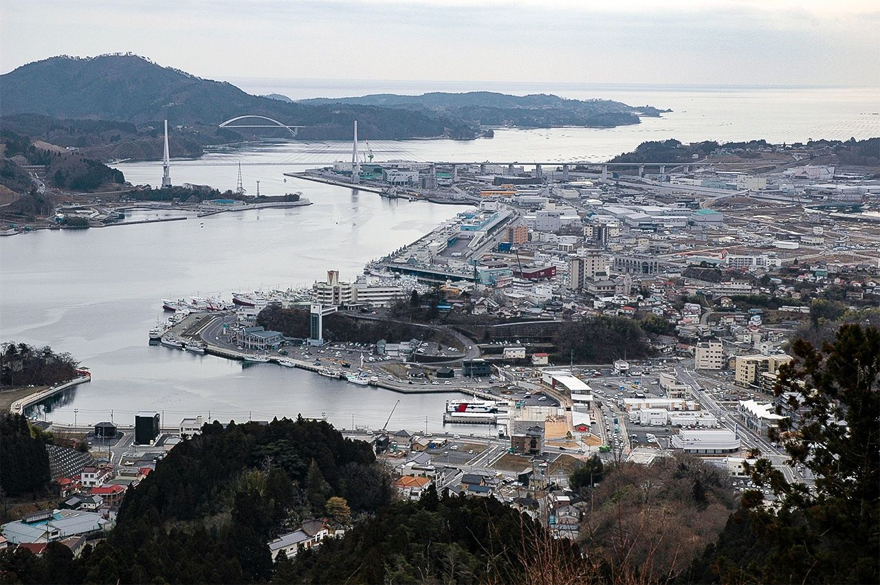 Reconstruction work around Kesennuma Bay is nearing completion, as seen from Mount Anba.