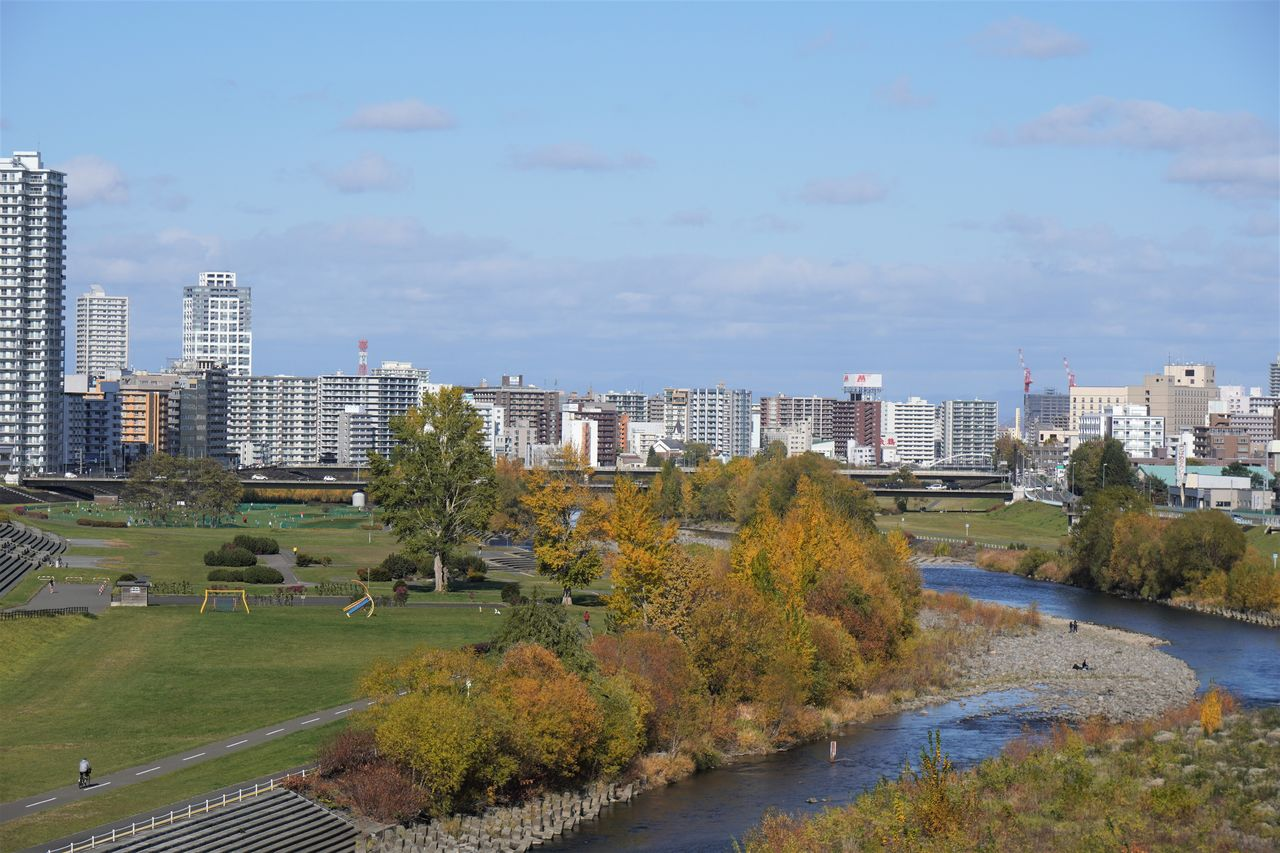 The center of Sapporo seen from across the gently flowing Toyohira River.