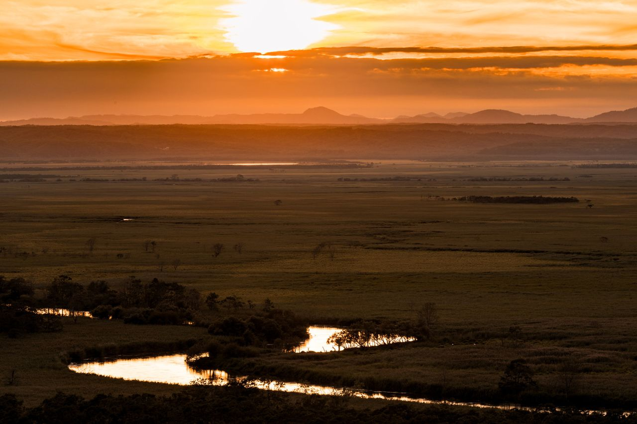The panorama of the Kushiro Marsh with the setting sun in the distance. (Courtesy Pakutaso)