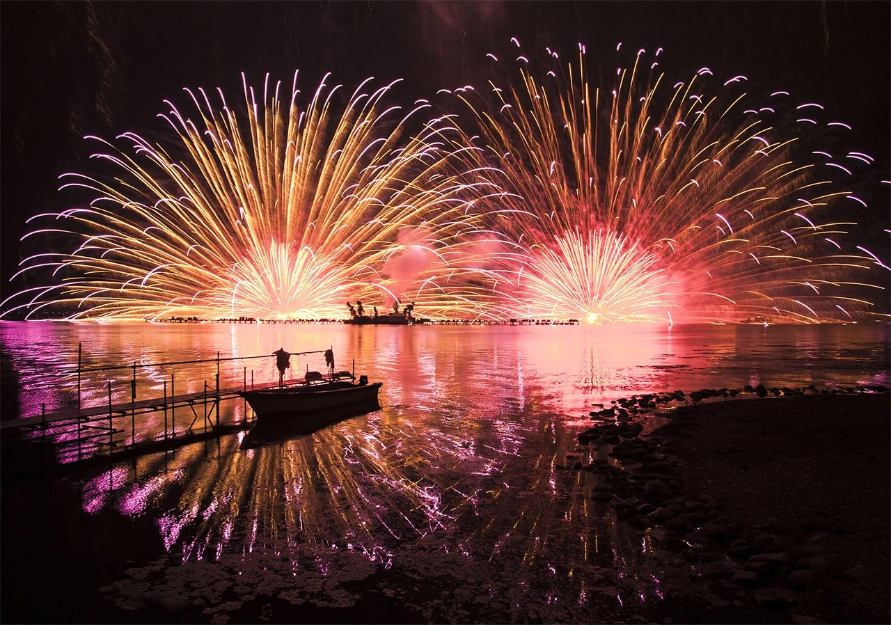The Lake Suwa Fireworks Festival is one of Japan's biggest, with some 40,000 shells launched into the sky.