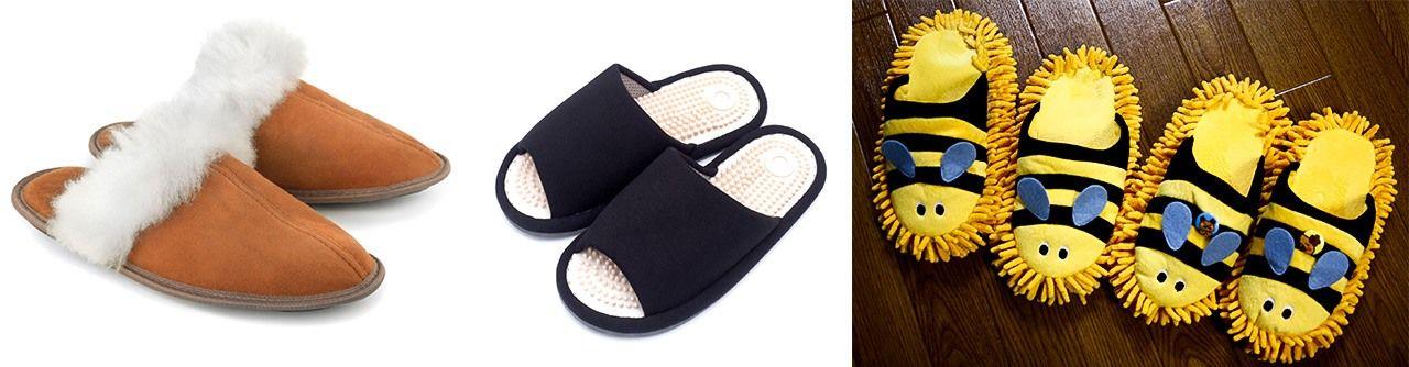 Sandal untuk musim dingin (kiri; © Pixta) dan dengan benjolan akupresur (tengah; © Pixta); sandal pel (kanan; © Tatsuo Yamashita).