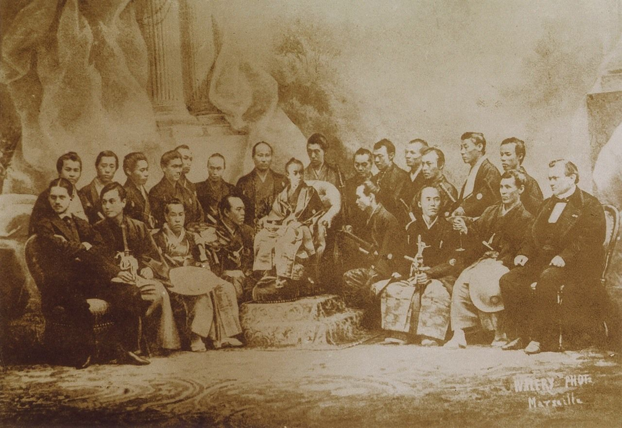 The group who traveled to the Paris International Exhibition in 1867. Shibusawa Eiichi is to the far left of the back row. (Courtesy Shibusawa Memorial Museum, Kita, Tokyo)
