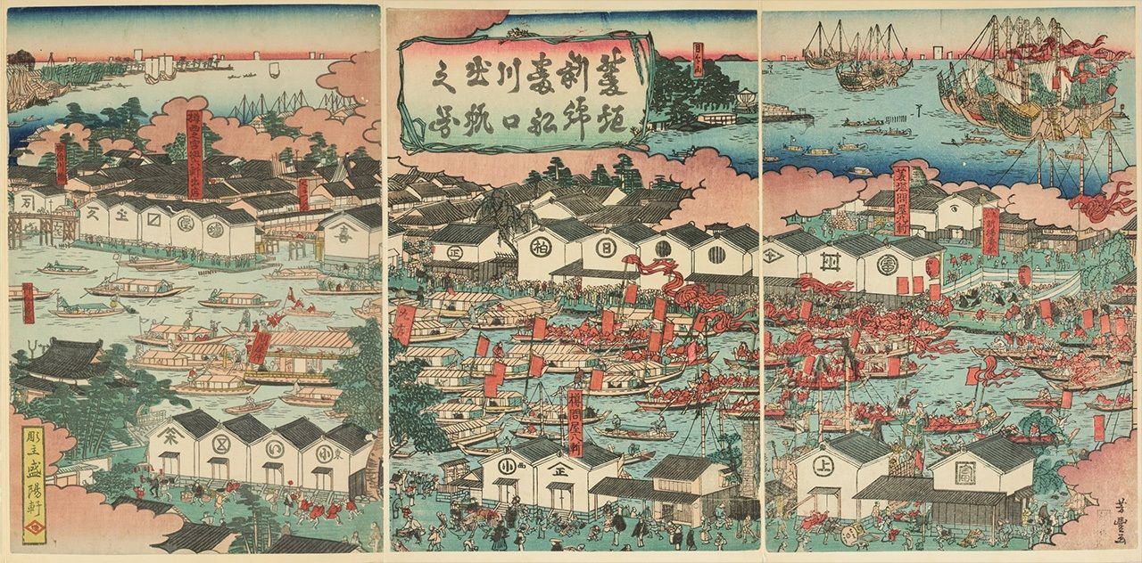 A print shows a fleet of cotton ships jostling for space at the mouth of a river as they set sail for Edo. Goods from around the country were transported to Osaka by water and stored in domain warehouses. (Courtesy Osaka Prefectural Nakanoshima Library)