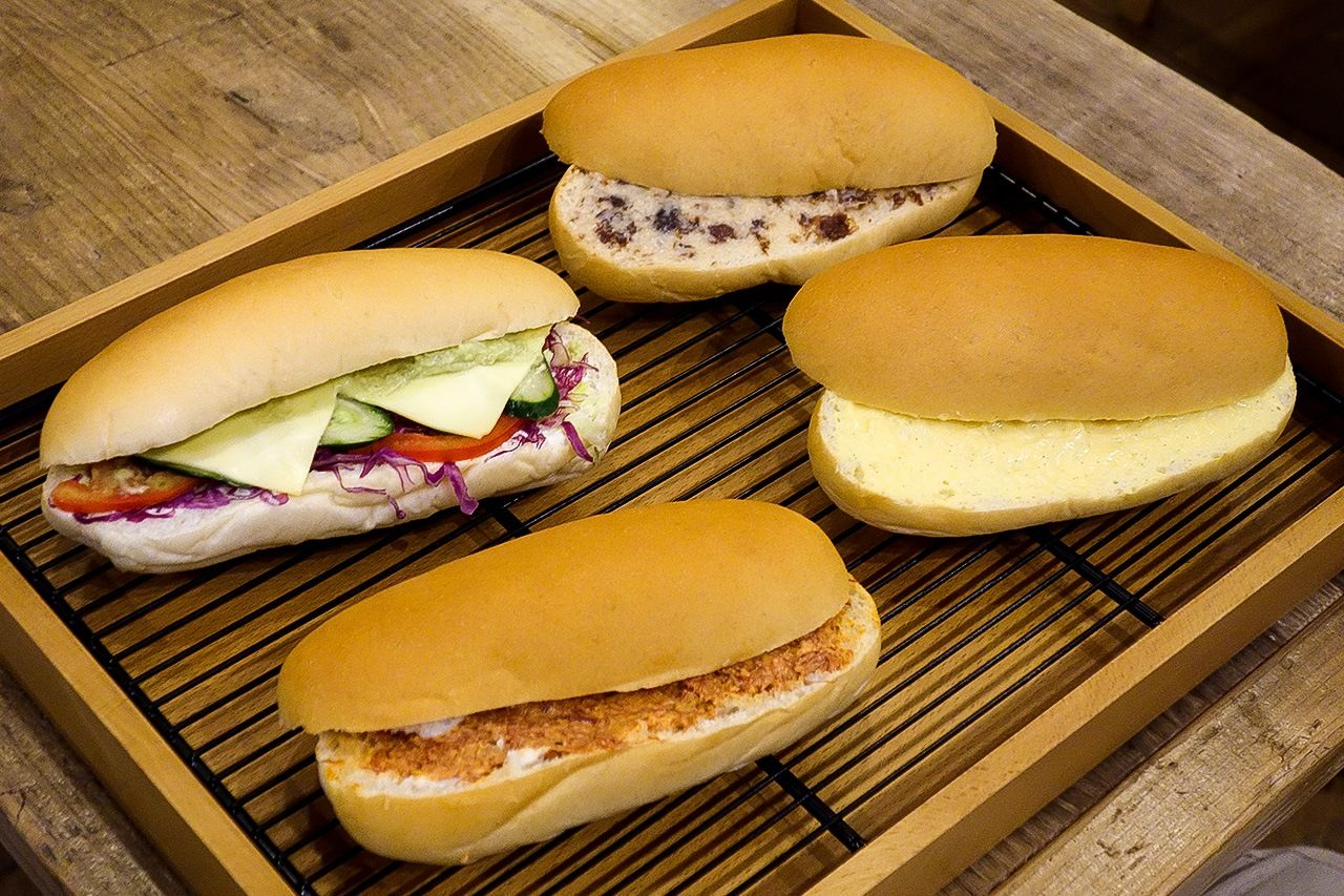 A selection of koppepan sandwiches.