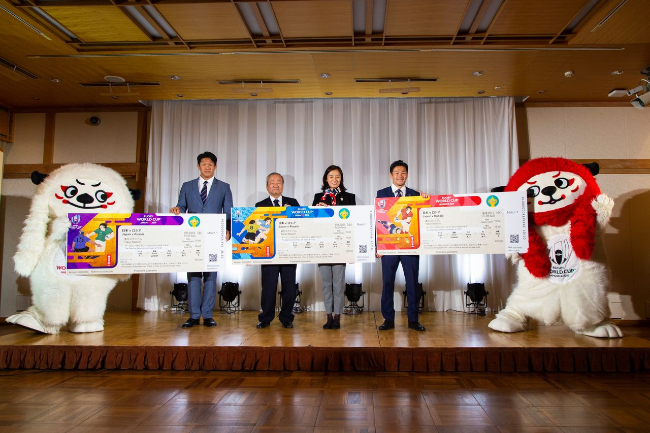 The kickoff event presenting the new ticket designs on June 17 at Meiji Kinenkan, Tokyo.