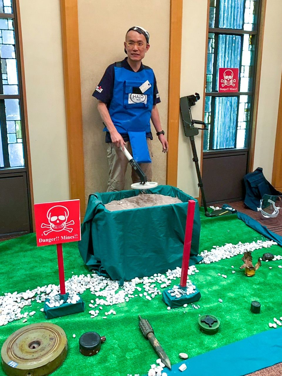 The June 11 event featured a display of antipersonnel mines and a mock demining line.