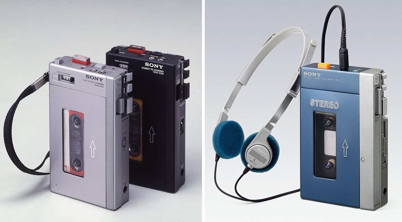 The Pressman (left) and the first-generation Walkman were highly similar in appearance.