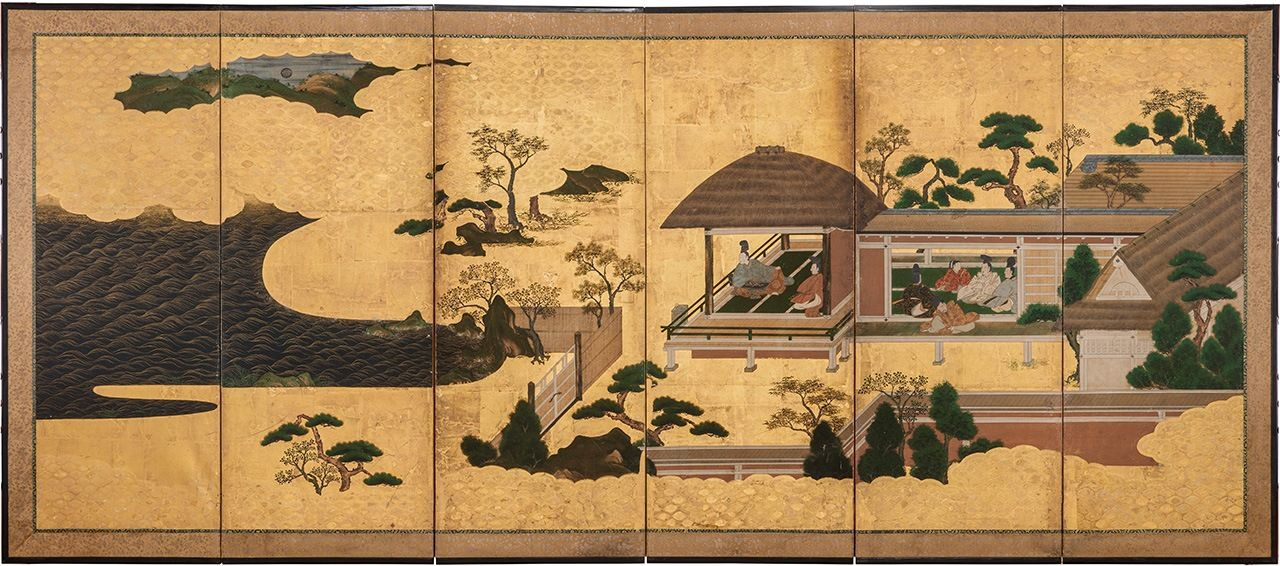 Genji's plain lodgings at Suma depicted on a folding screen. (Courtesy Gakushūin University Museum of History)