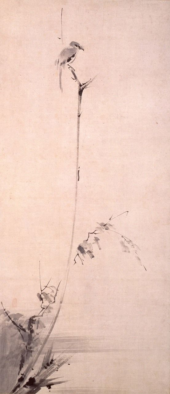 Koboku meigeki-zu (Shrike in barren tree), an ink painting by Musashi. Gorin no sho advocates involvement in calligraphy and other arts as means of training in the art of war. (Courtesy of the Kuboso Memorial Museum of Arts, Izumi)