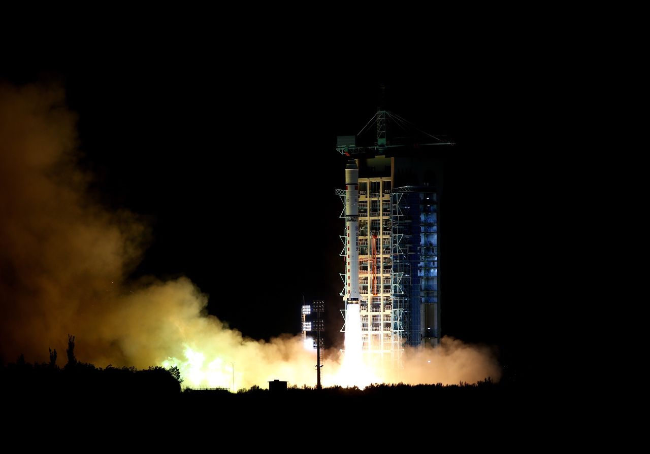 China launches the world's first quantum code satellite in August 16, 2016. (Photo courtesy Xinhua/Aflo)