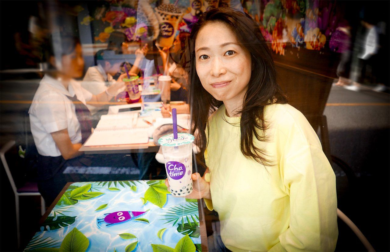 The author enjoying a tapioca drink in Japan from a well-known global chain.
