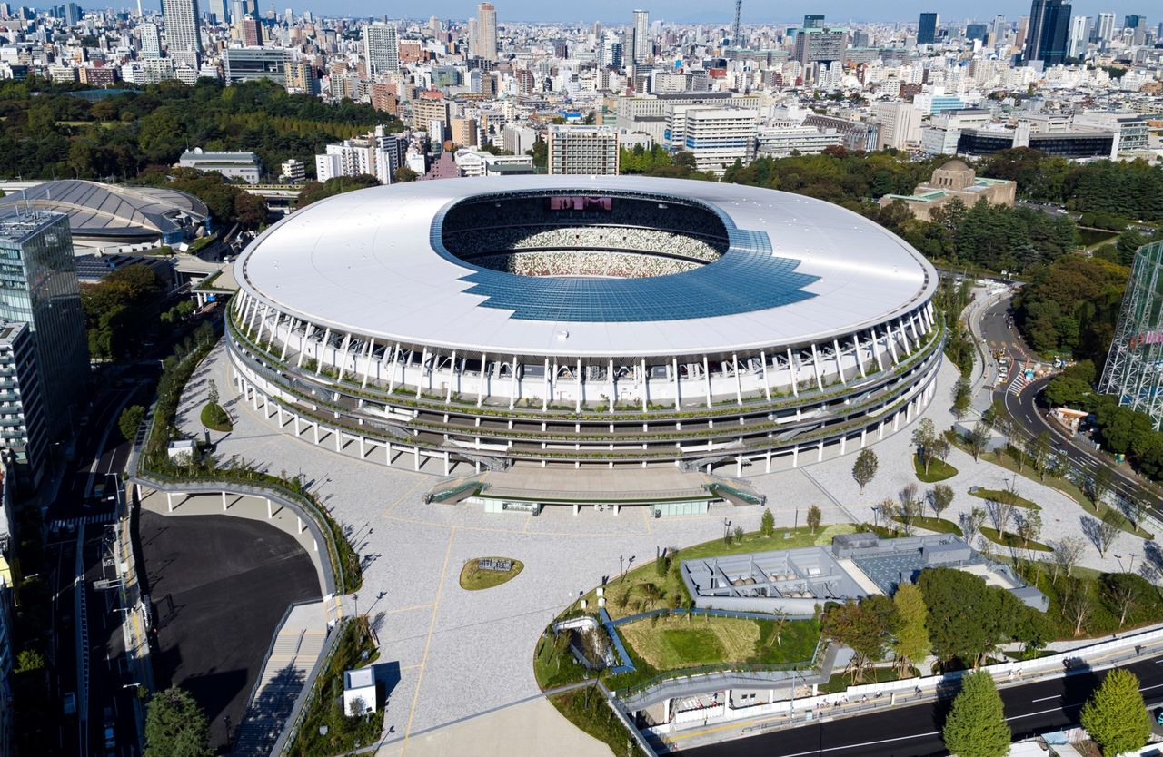 An aerial photograph of the National Stadium taken from the south. (Photo courtesy Japan Sport Council)