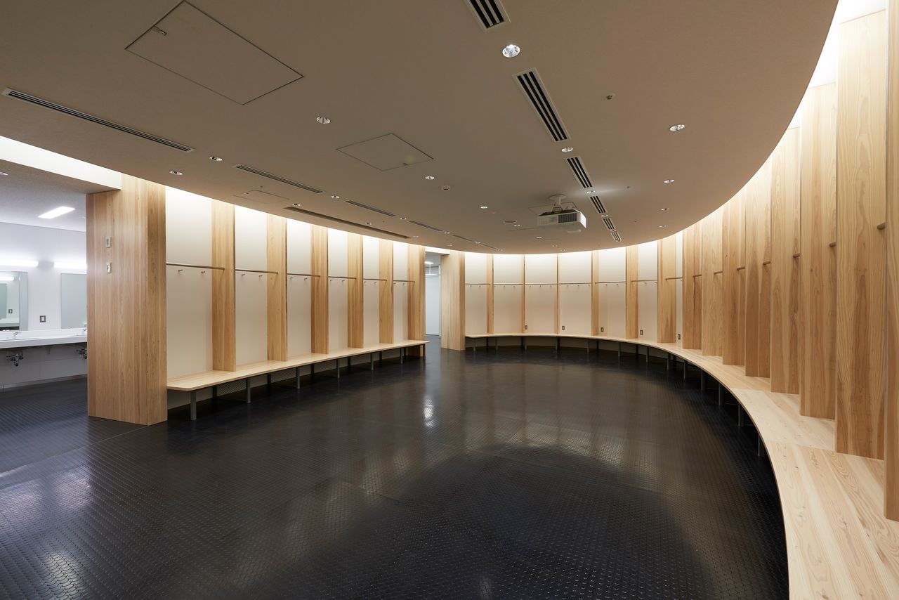 The team dressing rooms also use wood for striking effect. (Photo courtesy JSC)