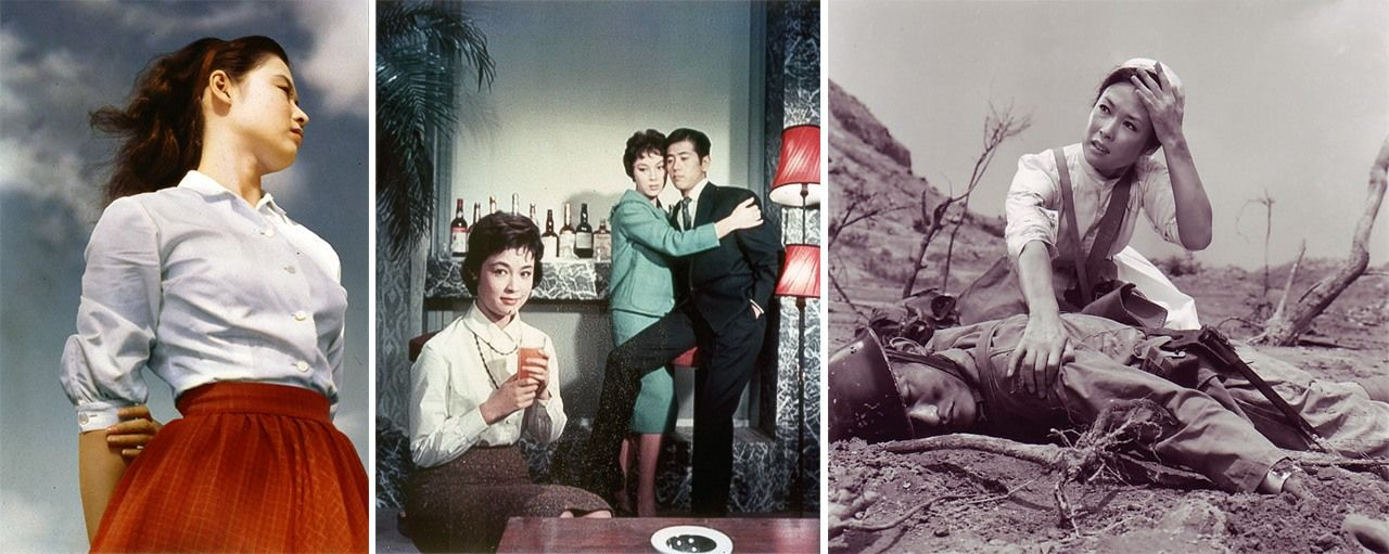 In films directed by Masumura Yasuzō; from left, Aozora musume (The Blue Sky Maiden), Saikō shukun fujin (The Most Valuable Wife), and Akai tenshi (Red Angel). (© Kadokawa 1957, 1959, 1966)