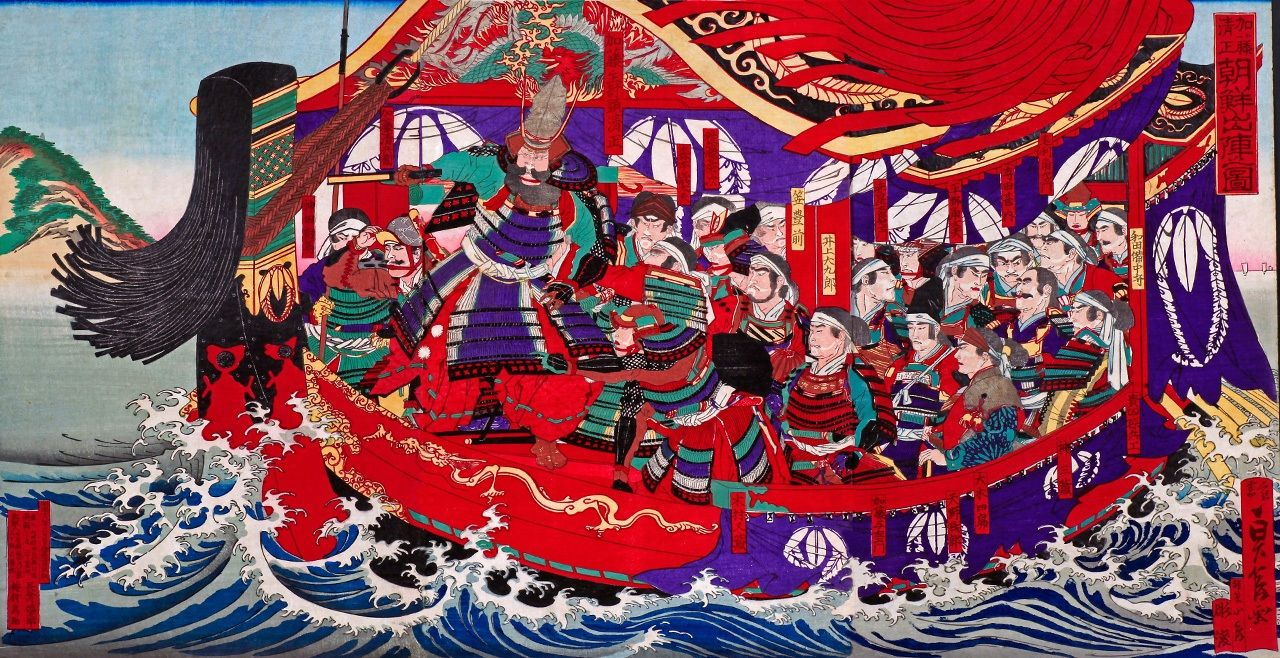 The daimyō Katō Kiyomasa depicted traveling to Korea as part of the military campaigns. (© Aflo)