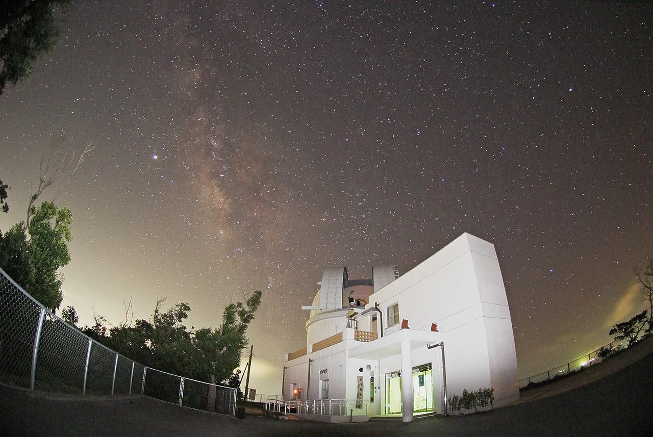 The Milky Way, seen above the Ishigaki-Jima Astronomical Observatory.