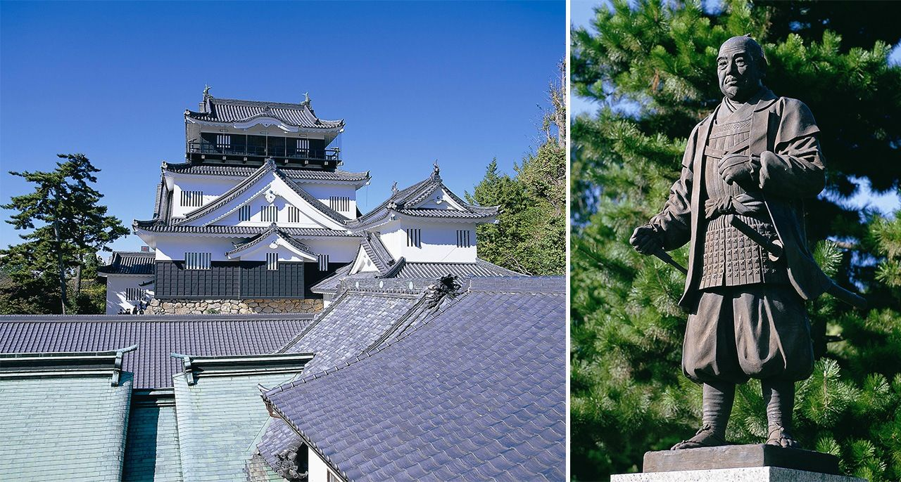 Tokugawa Ieyasu was born in Okazaki Castle, Aichi Prefecture (left), and his statue can now be seen in Okazaki Park. (Courtesy Okazaki municipal government)