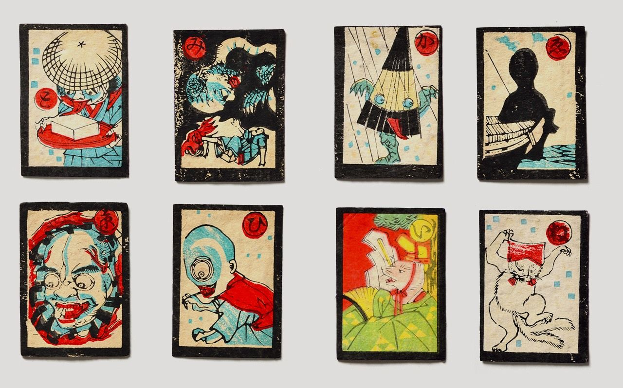 Karuta cards with yōkai from the Edo period and later. (Courtesy Miyoshi Mononoke Museum)