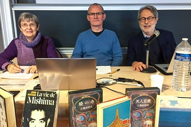 Translators of Life for Sale at the Paris symposium in 2019, from left to right: French-language translator Dominique Palmé, English-language translator Stephen Dodd, and Italian-language translator Giorgio Amitrano. (© Thomas Garcin)