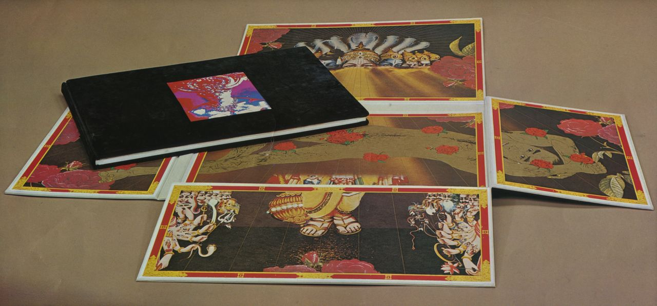 The new edition of Barakei, designed by Yokoo Tadanori and published in 1971. The box containing the collection of photographs opens to reveal a Buddhist-influenced, Indian-style picture of Mishima.
