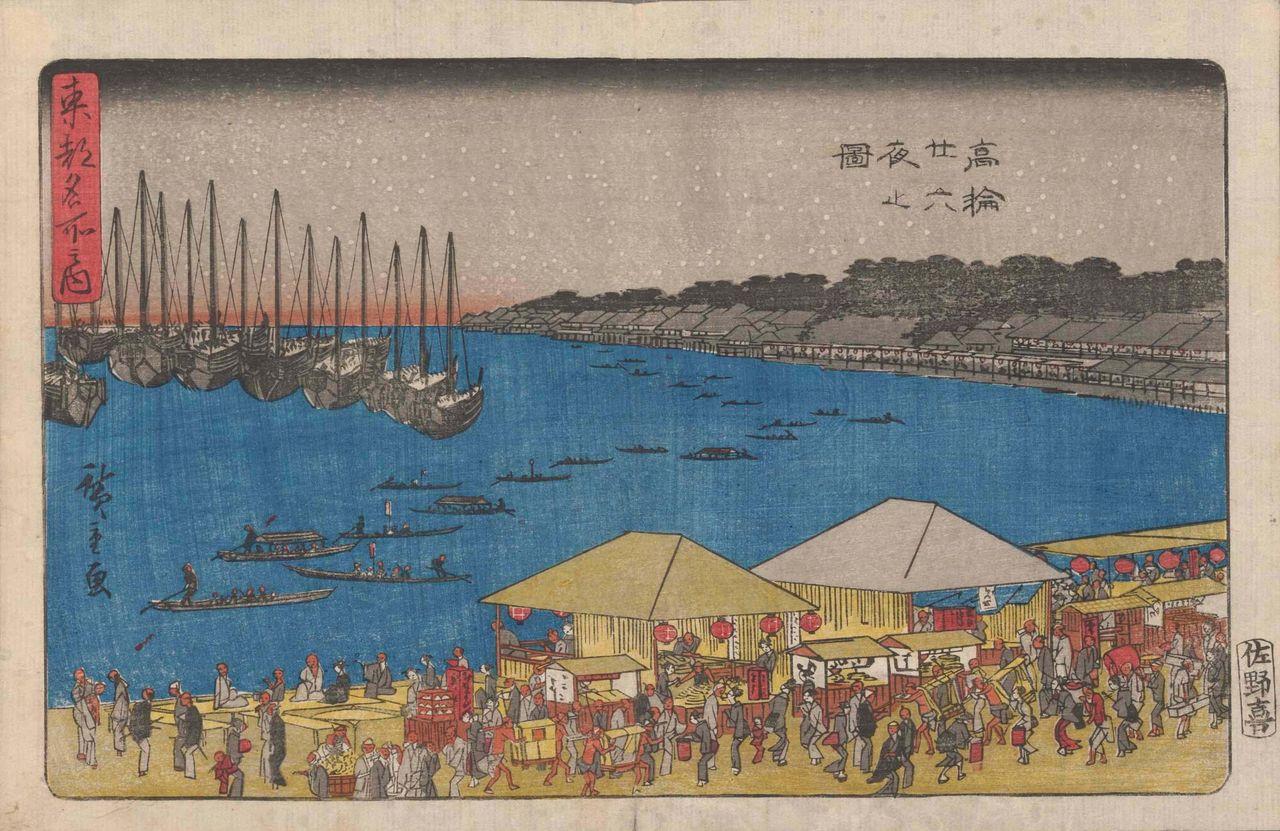 Festival nijūrokuya-machi di Takanawa. Tepat di sebelah kanan tengah, di bawah atap berwarna terang, ada warung yang bertuliskan sushi bertuliskan hiragana (す し). Tōto meisho no uchi: Takanawa nijūrokuya no zu (Tempat Terkenal di Ibukota Timur: Malam Duapuluh Enam Takanawa) oleh Utagawa Hiroshige. (Atas kebaikan Ajinomoto Foundation for Dietary Culture)