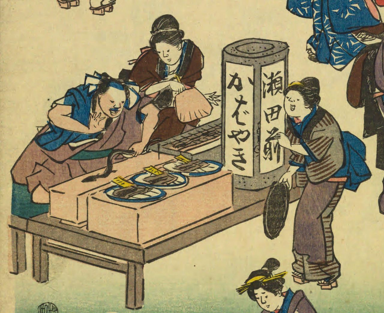 Cooking eel to sell on the spot. From Jōrurimachi hanka no zu (Flourishing Business in Balladtown) by Utagawa Hiroshige. (Courtesy the National Diet Library)