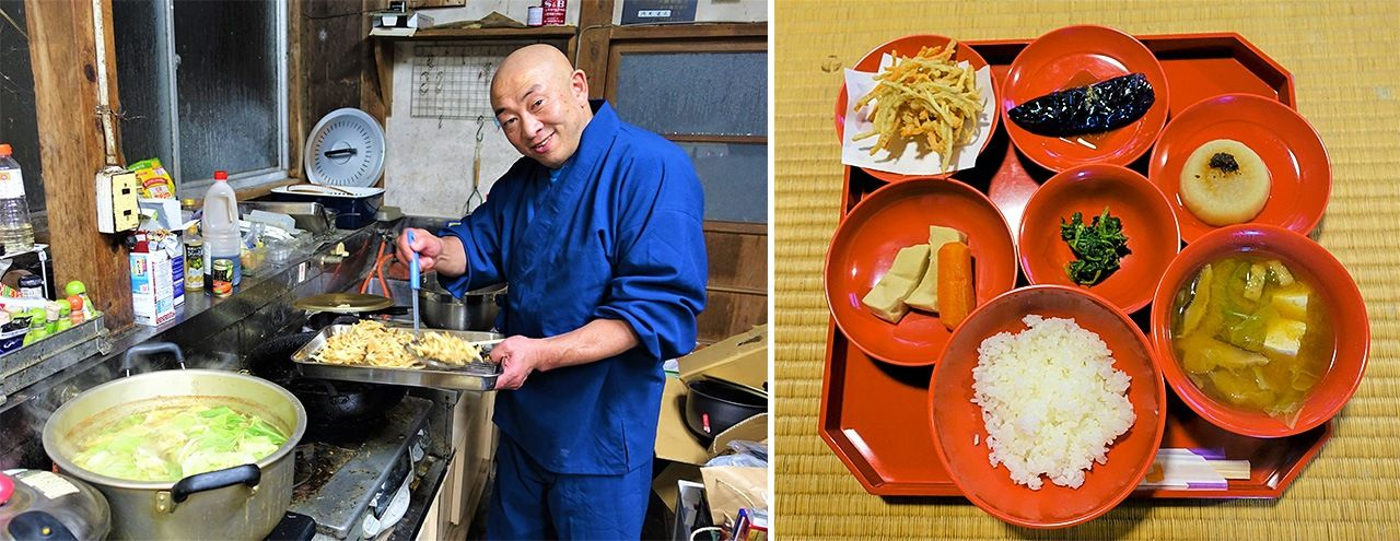 Head priest Asami entered religious life at the age of 35 after quitting his office job, training at the Kyoto temple Myōshinji. Temple food is served in red lacquered dishware. The most popular dish, kenchin-jiru in light miso soup (at lower right), is the temple's specialty.