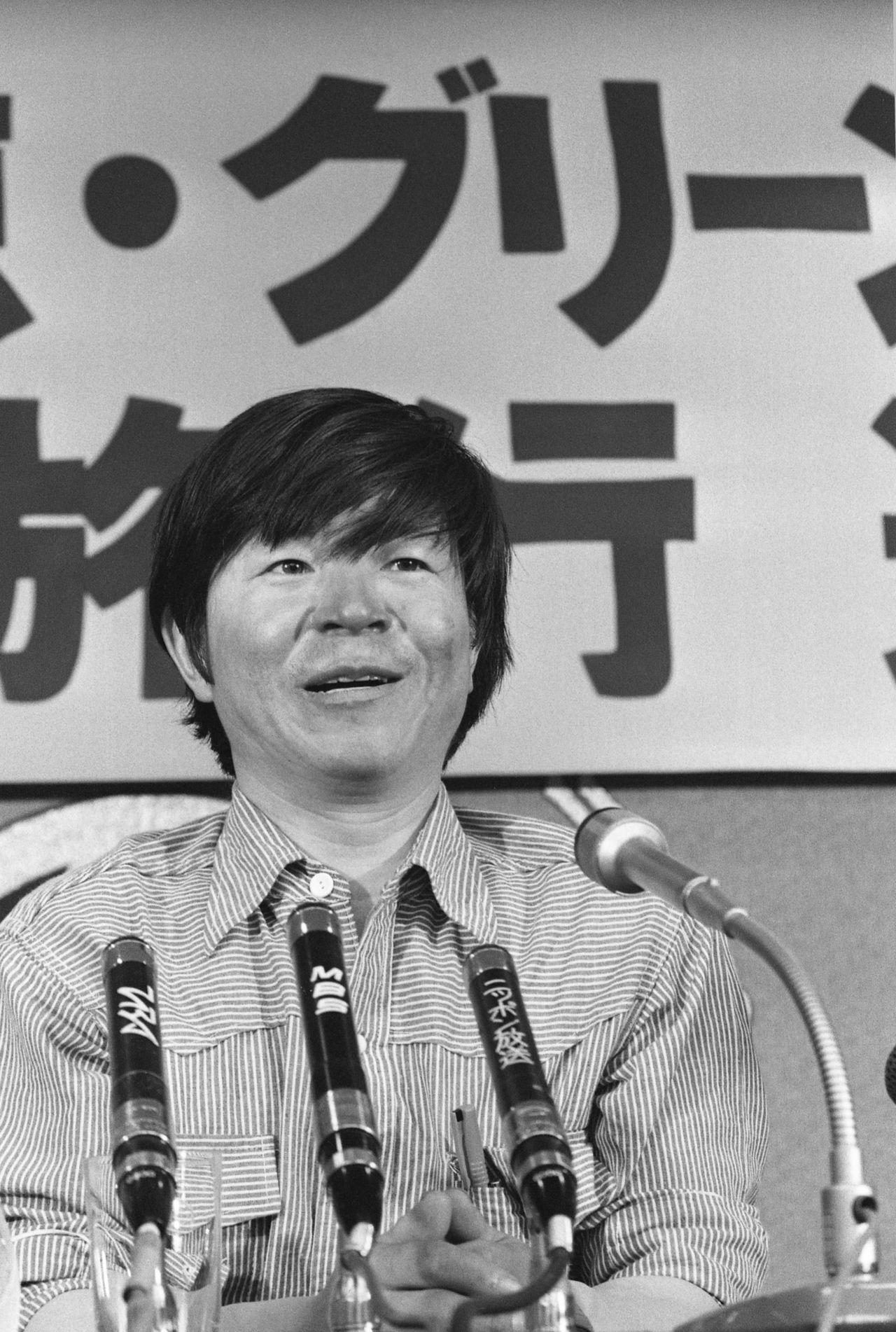 Uemura berbicara di Klub Pers Nasional Jepang pada tanggal 1 September 1978, setelah penyeberangannya di Greenland. (© Jiji)