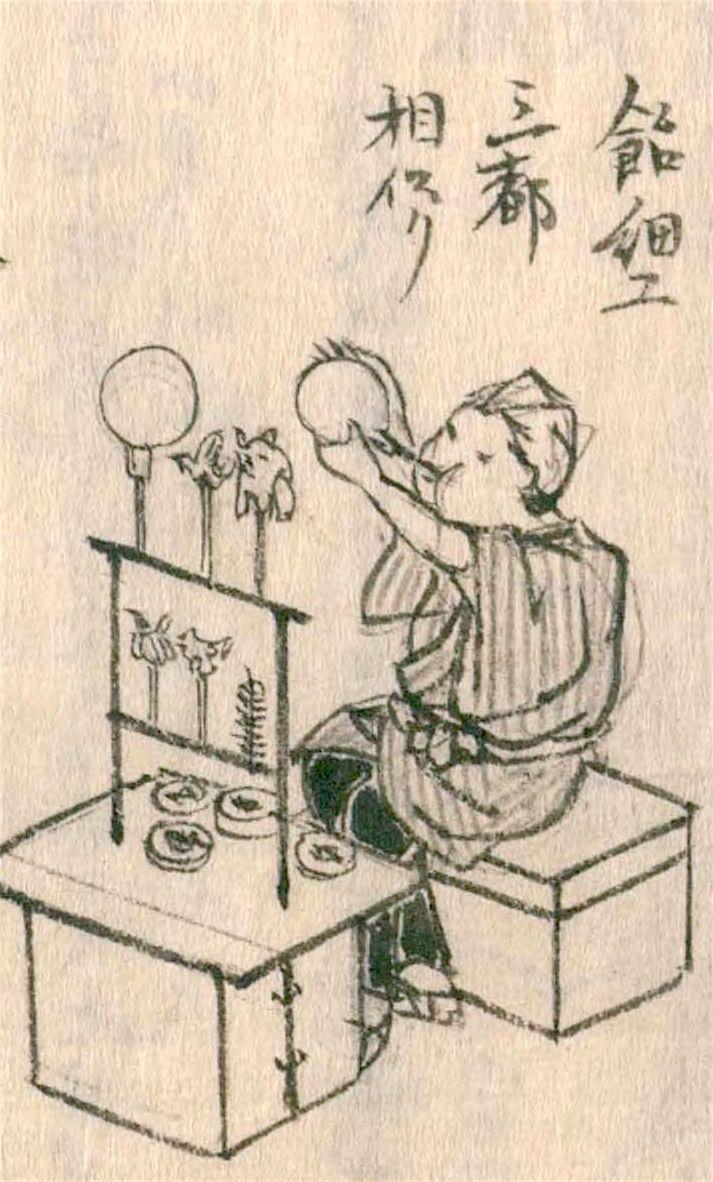Pengrajin Amezaiku memahat sirup mizuame yang dipanaskan menjadi bentuk yang rumit. Dari Morisada mankō (Morisada's Sketches). (Atas kebaikan Perpustakaan Diet Nasional)