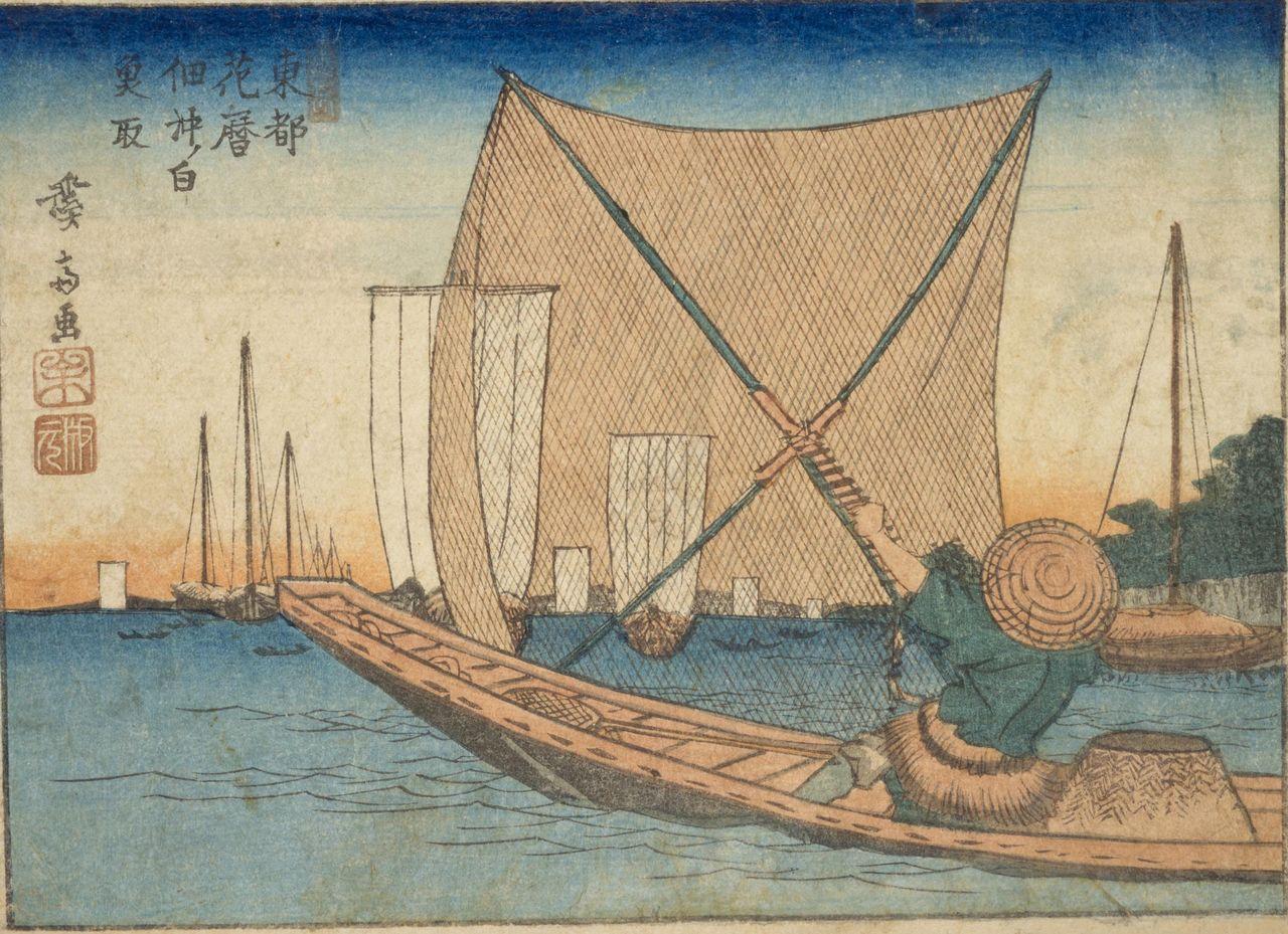 Tōto hanagoyomi: Tsukudaoki no shirauo tori (Kalender Bunga Ibukota Timur: Menangkap Ikan Es dari Tsukuda). (Atas kebaikan Perpustakaan Diet Nasional)