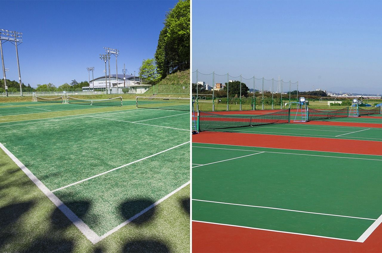 A sand-infused artificial turf court (left) compared to a hard court. (© Pixta)