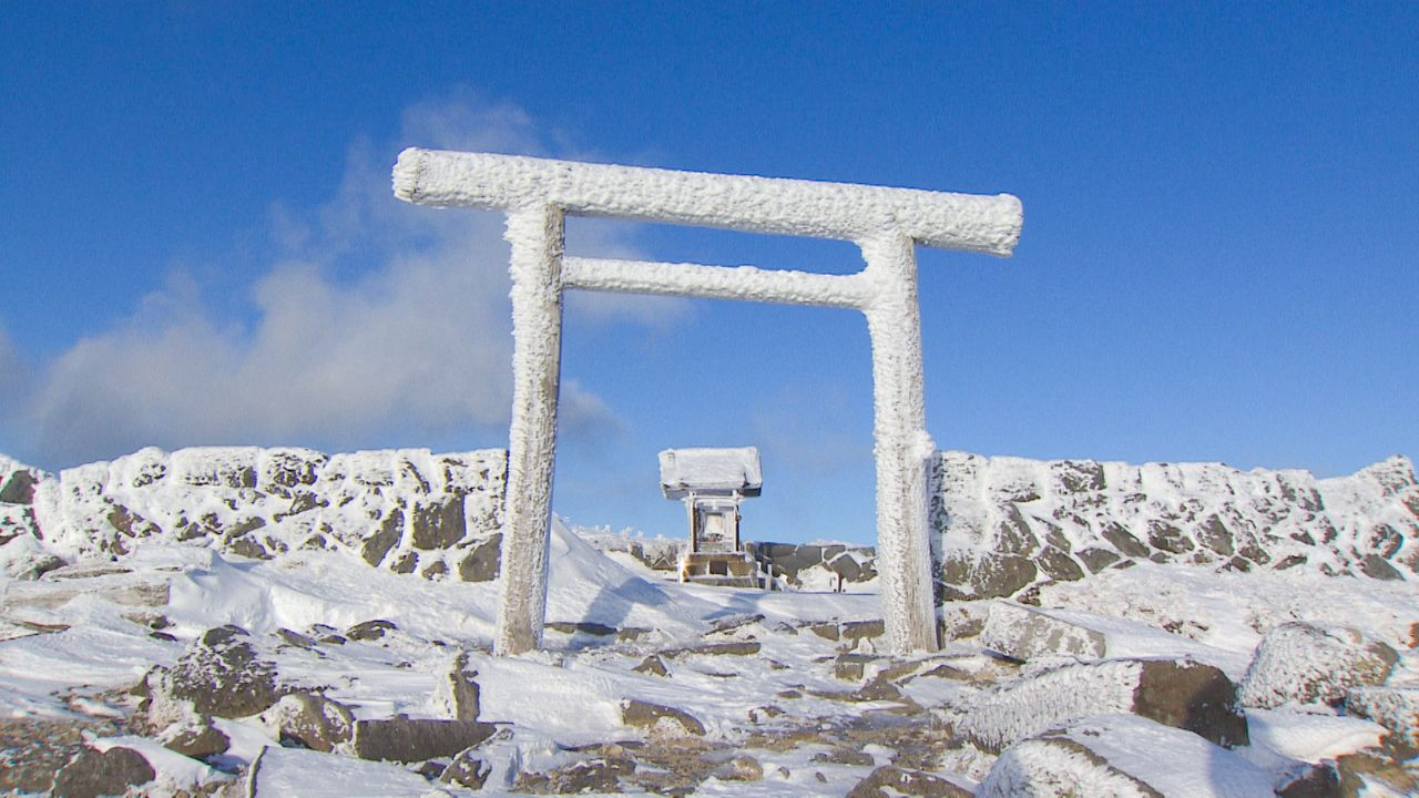 The Hie Shrine viewed through its snow-covered torii.