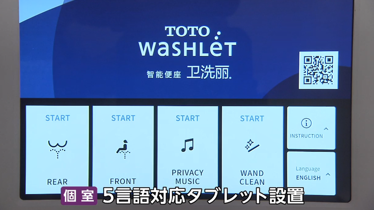 Touchscreens are installed in each restroom stall, helping users navigate toilet functions in any of five languages.