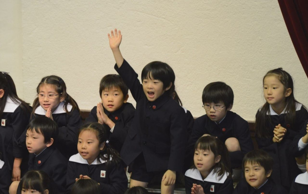 "The royal first-grader performs energetically during the ""Birthday Song."""