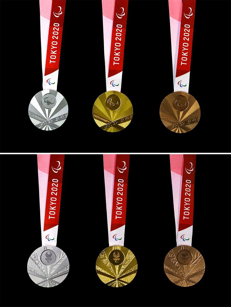 The obverse (top) and reverse of the 2020 Paralympic medals. (© Jiji)