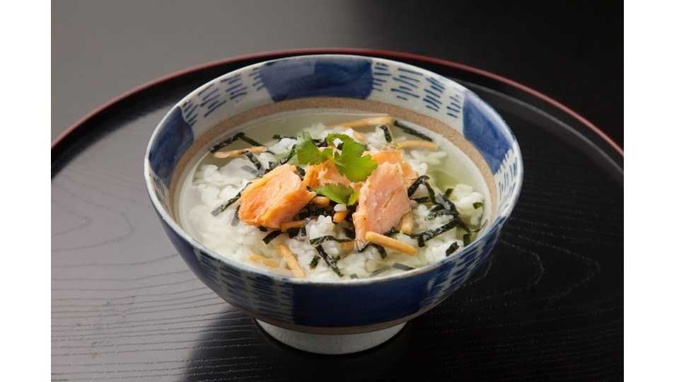 Ochazuke is rice served in soup stock or green tea with simple toppings.