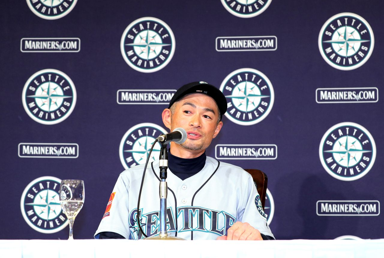 Baseball superstar Ichirō at a March 22 Tokyo press conference after announcing his retirement from the sport. (© Jiji)