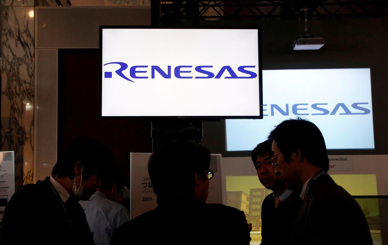 FILE PHOTO: Renesas Electronics Corp's logos are pictured at the company's conference in Tokyo, Japan, April 11, 2017. REUTERS/Toru Hanai/File Photo