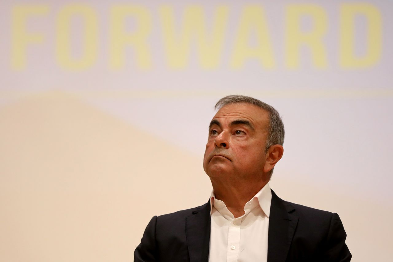 FILE PHOTO: Carlos Ghosn, the former Nissan and Renault chief executive, looks on during a news conference at the Holy Spirit University of Kaslik, in Jounieh, Lebanon September 29, 2020. REUTERS/Mohamed Azakir/File Photo