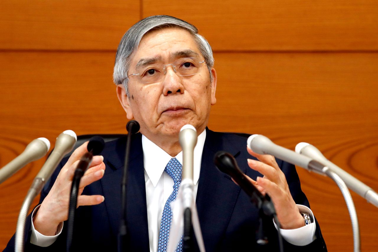 FILE PHOTO: Bank of Japan (BOJ) Governor Haruhiko Kuroda attends a news conference at the BOJ headquarters in Tokyo, Japan June 20, 2019. REUTERS/Kim Kyung-Hoon