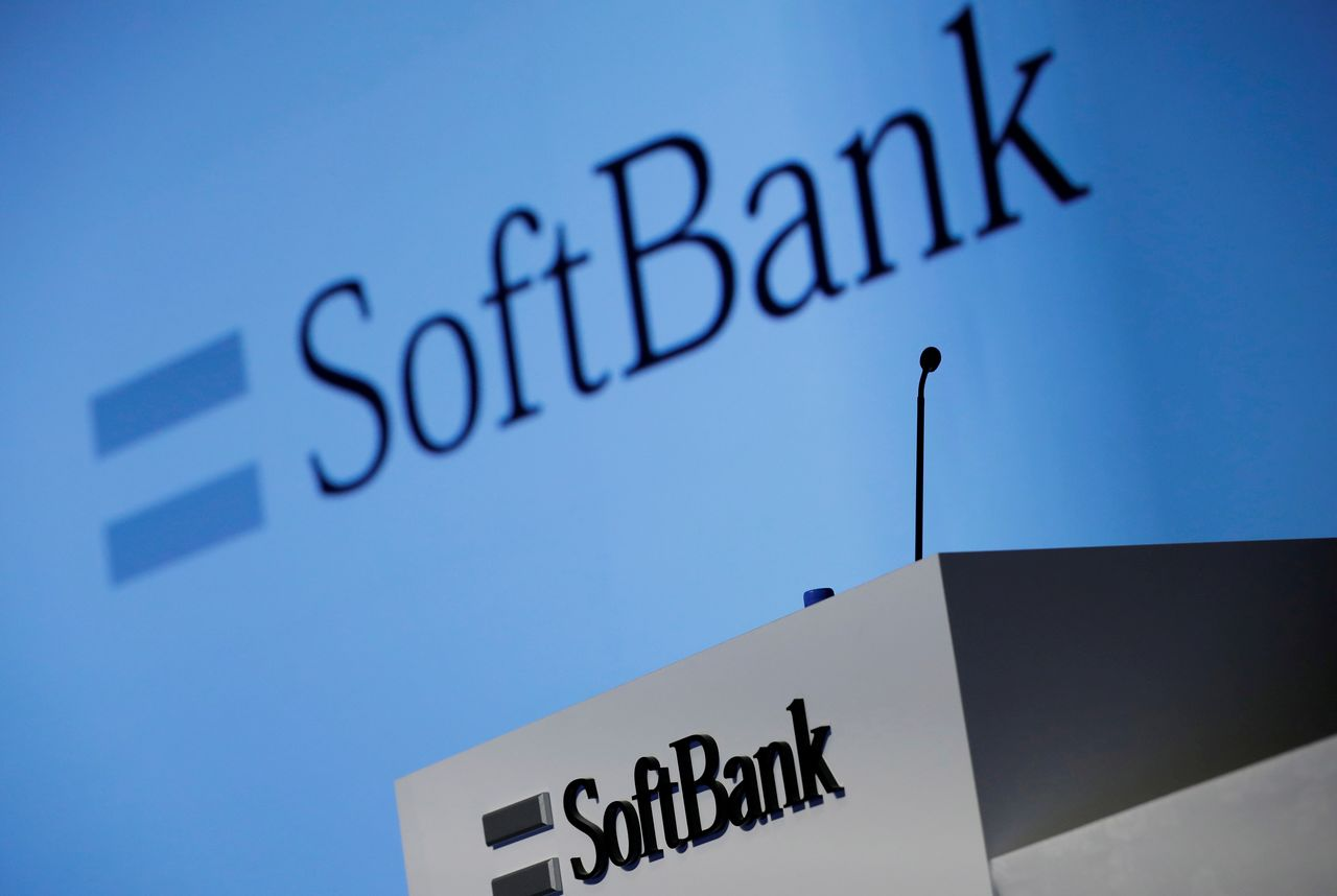 FILE PHOTO: SoftBank Corp's logo is pictured at a news conference in Tokyo, Japan, Feb. 4, 2021. REUTERS/Kim Kyung-Hoon/File Photo