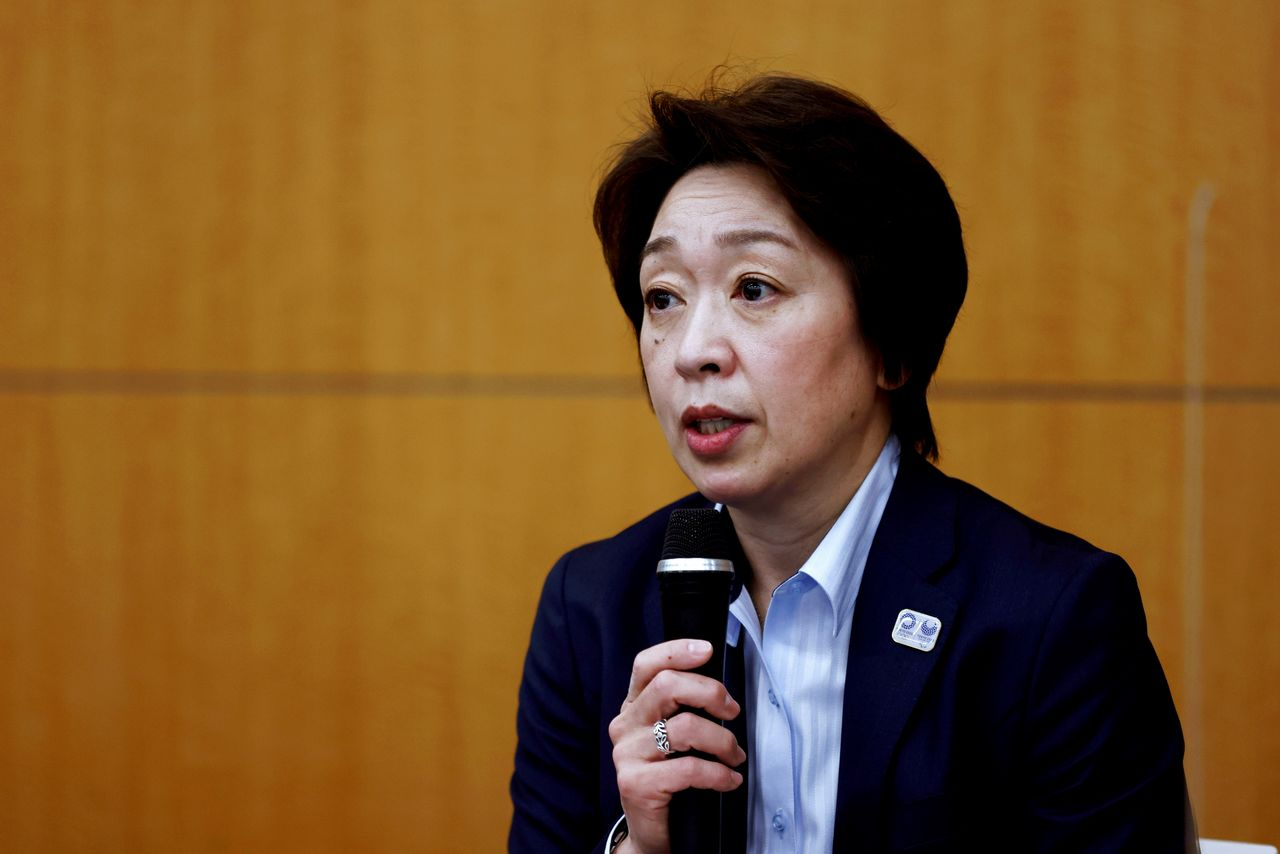 FILE PHOTO: President of the Tokyo 2020 Olympics Organising Committee Seiko Hashimoto speaks during the opening remarks session of the press briefing on operation and media coverage of Tokyo 2020 Olympic Torch Relay in Tokyo, Japan February 25, 2021. Behrouz Mehri/Pool via REUTERS