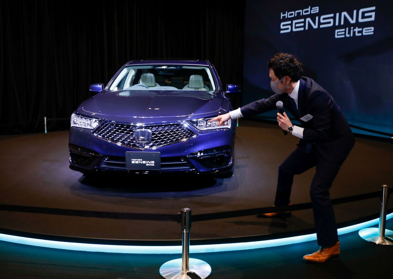 The Honda Motor Co. Ltd's all-new Legend sedan equipped with level 3 autonomous driving technology is seen during an unveiling in Tokyo, Japan March 4, 2021. REUTERS/Issei Kato/File Photo
