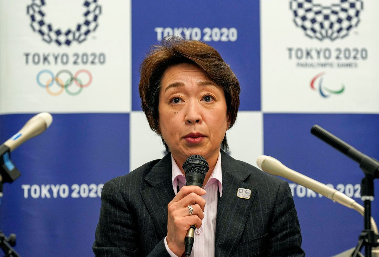 FILE PHOTO: Seiko Hashimoto, President of the Tokyo 2020 Organising Committee, speaks during a media briefing after a council meeting in Tokyo, Japan March 3, 2021. Kimimasa Mayama/Pool via REUTERS