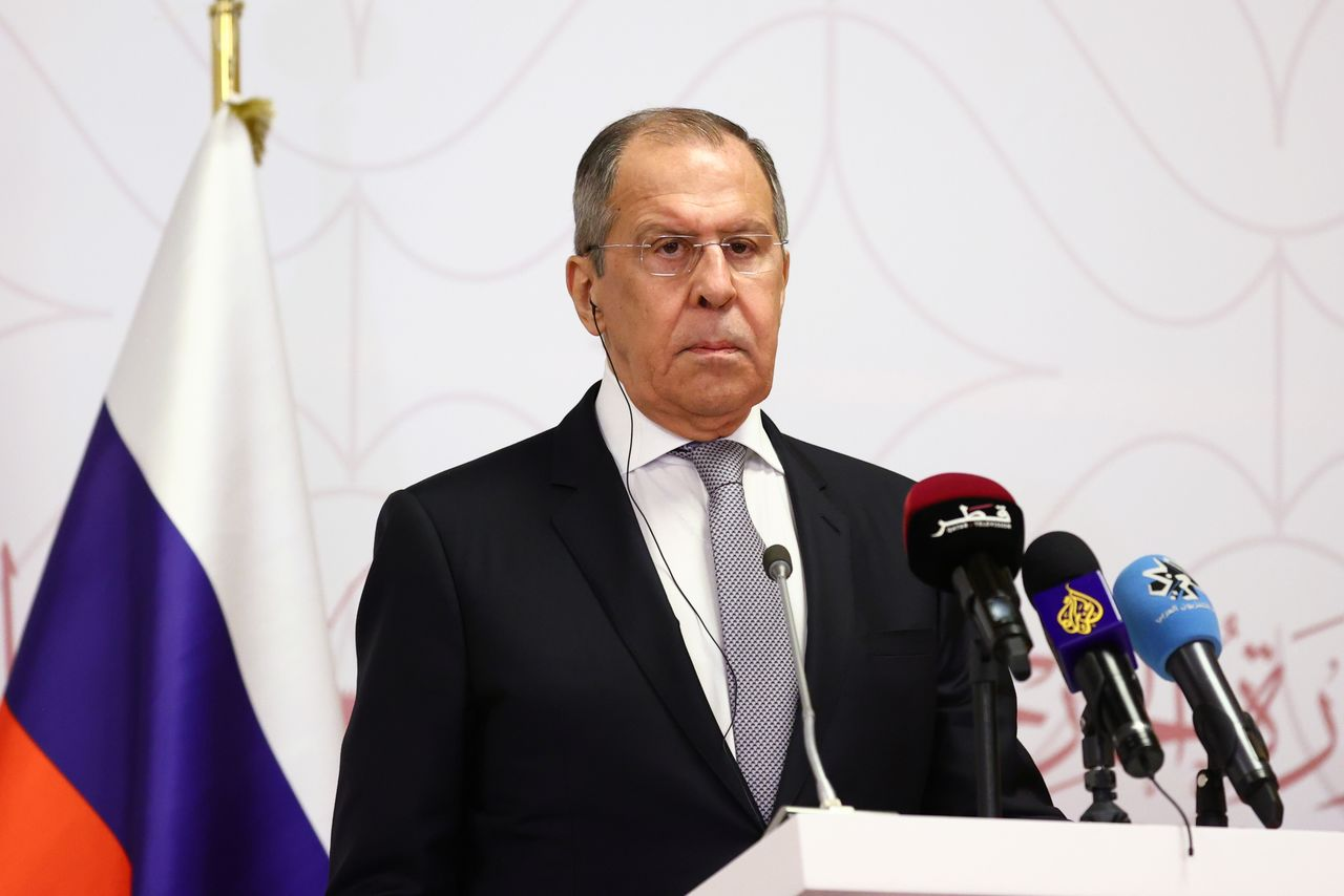 FILE PHOTO: Russia's Foreign Minister Sergei Lavrov attends a news conference following a meeting with Qatar's Deputy Prime Minister and Minister of Foreign Affairs Mohammed bin Abdulrahman Al Thani and Turkey's Foreign Minister Mevlut Cavusoglu in Doha, Qatar March 11, 2021. Russian Foreign Ministry/Handout via REUTERS